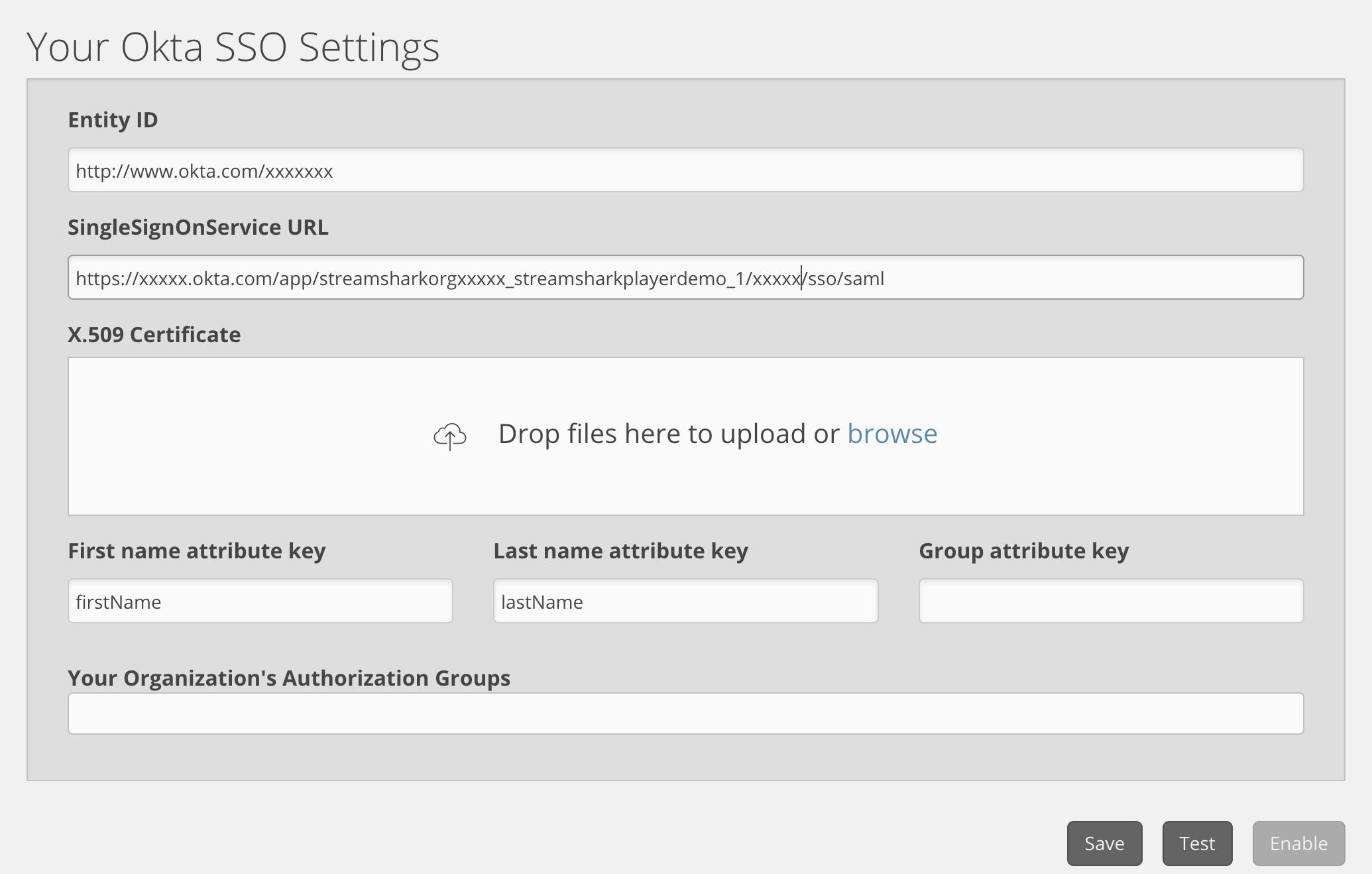Configuring Okta SAML2 SSO integration with StreamShark